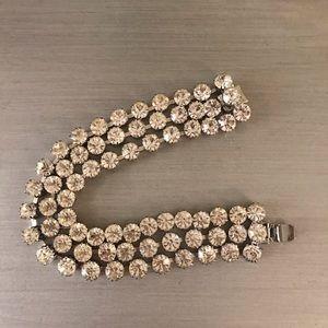 Diamond Silver Triple Strand Tennis Bracelet